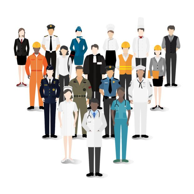 vector illustration of people dressed for various jobs and professions